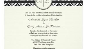 Black and Cream Wedding Invitations Black and Cream Monogram Damask Wedding Invitation Zazzle