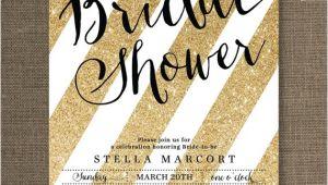 Black and Gold Bridal Shower Invitations Black & Gold Bridal Shower Invitation Glitter Stripes Metallic