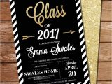 Black and Gold Graduation Party Invitations Black and Gold Graduation Invitation Gold Glitter