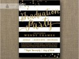 Black and Gold Graduation Party Invitations Gold Black and White Graduation Party Invitation Glitter