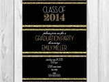 Black and Gold Graduation Party Invitations Graduation Party Invitation Black White and Gold