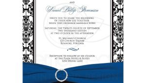 Black and Royal Blue Wedding Invitations Wedding Invitation Black White Damask Printed Royal