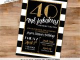Black and White 40th Birthday Party Invitations 40th Birthday Invitation Black and White Katiedid Designs