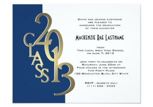 Blue and Gold Graduation Invitations Blue and Gold 2013 Graduation Invitation Zazzle