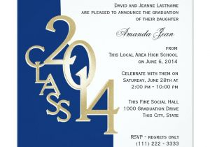 Blue and Gold Graduation Invitations Blue and Gold 2014 Photo Graduation Invitation Zazzle