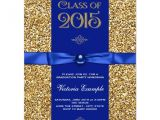 Blue and Gold Graduation Invitations Blue and Gold Glitter Graduation Announcements Zazzle