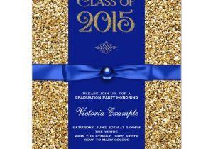 Blue and Gold Graduation Invitations Blue and Gold Glitter Graduation Announcements Zazzle