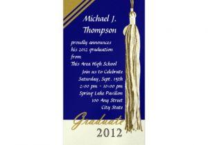 Blue and Gold Graduation Invitations Graduation Tassel Dark Blue and Gold 4 Quot X 9 25 Quot Invitation