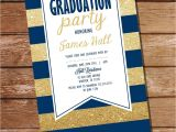 Blue and Gold Graduation Invitations Navy Blue and Gold Graduation Invitation Sunshine Parties