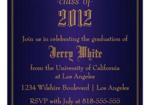 Blue and Gold Graduation Invitations Personalized Blue Gold Invitations Custominvitations4u Com