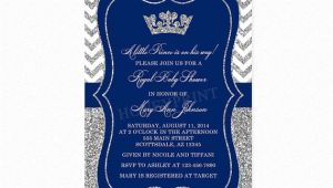 Blue and Silver Baby Shower Invitations Prince Baby Shower Invitation Royal Blue Silver Baby