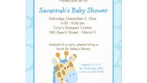"Blue Giraffe Baby Shower Invitations Blue Giraffe Boy Baby Shower Invitation 4 5"" X 6 25"