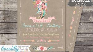 Boho Chic Birthday Invitation Template Boho Chic Party Invitation