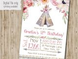 Boho Chic Birthday Invitations Boho Chic Birthday Invitation Teepee Tribal Invitation