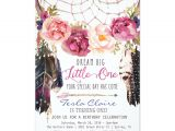 Boho Chic Birthday Invitations Boho Floral Dreamcatcher Watercolor First Birthday Card