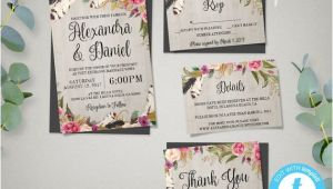 Boho Wedding Invitation Template Printable Boho Wedding Invitation Template Set Rsvp