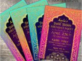 Bollywood Party Invitations Free Arabian Nights Bollywood theme Birthday Invitation Card