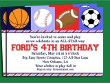 Boys Sports Birthday Invitations Free Printable Sport themed Birthday Invitation Card for