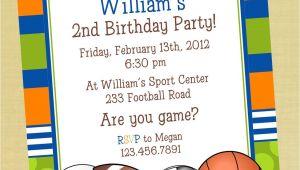 Boys Sports Birthday Invitations Sports Printable Birthday Invitation Personalized Sports
