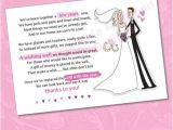 Bridal Shower Invitation Wording Monetary Gifts 25 X Wedding Wishing Well Poem Cards for Your Invitations
