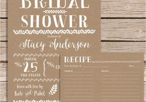 Bridal Shower Invitations with Recipe Cards Rustic Bridal Shower Invitation with Recipe Card Vintage