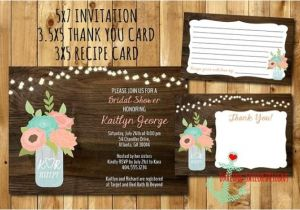 Bridal Shower Invitations with Recipe Cards Rustic Mason Jar Bridal Shower Invitation Recipe Card