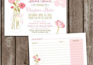 Bridal Shower Invitations with Recipe Cards Sale Digital Printable Mason Jar Bridal Shower