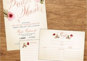 Bridal Shower Invitations with Recipe Cards Watercolor Flower Bridal Shower Invitation with by Kxodesign
