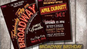 Broadway themed Party Invitations Broadway Birthday Invitationsdigital or Printed Option