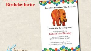 Brown Bear Brown Bear Birthday Party Invitations Brown Bear Eric Carle Birthday Invitation by Rkdesignsstudio