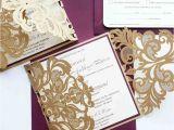 Burgundy and Ivory Wedding Invitations Burgundy and Ivory Wedding Invitations Laser Cut Pocket