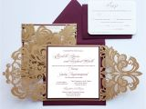 Burgundy and Ivory Wedding Invitations Custom Burgundy Gold Lasercut Wedding Invitation Card