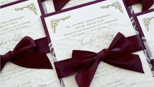 Burgundy and Ivory Wedding Invitations Jennifer Burgundy and Ivory Lace Wedding Invitation