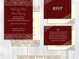 Burgundy and Ivory Wedding Invitations Printed Wedding Invitation Suite Set Burgundy Ivory