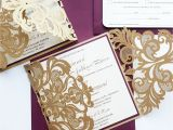 Burgundy themed Wedding Invitations Burgundy and Gold Wedding Invitations Sansalvaje Com