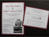 Burgundy themed Wedding Invitations Burgundy Black White Vintage Book themed Wedding