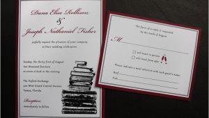 Burgundy themed Wedding Invitations Burgundy Black White Vintage Book themed Wedding