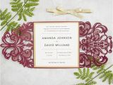 Burgundy themed Wedding Invitations Elegant Burgundy and Gold Laser Cut Wedding Invitations