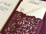Burgundy themed Wedding Invitations Laser Cut Pocket Wedding Invitation Burgundy and Gold