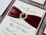 Burgundy themed Wedding Invitations Stefanie Burgundy and Silver Glitter Wedding Invitation