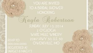 Burlap and Lace Bridal Shower Invitations Burlap & Lace Bridal Shower Invitation Pure Design Graphics