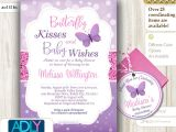 Butterfly Baby Shower Invites Purple Pink butterfly Kisses and Baby Wishes Invitation for