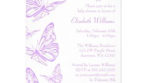 "Butterfly themed Baby Shower Invitations Pretty Purple butterfly Baby Shower Invitations 5"" X 7"