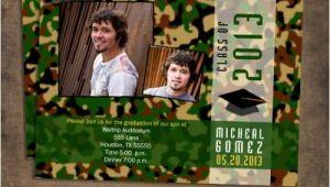 Camouflage Graduation Invitations Green Camouflage Graduation Invitations Printable or Prints