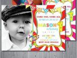 Carnival 1st Birthday Invitations Circus Birthday Invitation First Birthday Party