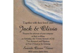 Casual Beach Wedding Invitation Wording Casual Beach Sand Sea Foam Wedding 5×7 Paper Invitation