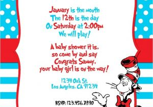 Cat In the Hat Baby Shower Invites Custom Dr Seuss themed Printable Digital Baby Shower