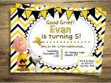 Charlie Brown 1st Birthday Invitations Charlie Brown & Snoopy Birthday Party Invitation Peanuts