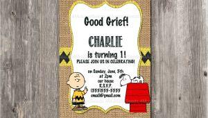 Charlie Brown 1st Birthday Invitations Charlie Brown Birthday Invitation Snoopy Rustic Burlap