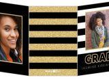 Cheap Tri Fold Graduation Invitations Glitter Black White Stripes Trifold Graduation